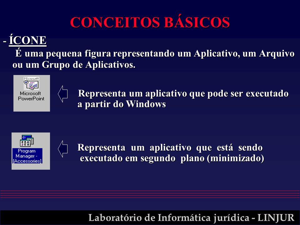 CONCEITOS BÁSICOS - ÍCONE É uma pequena figura representando um Aplicativo, um Arquivo ou um Grupo de Aplicativos.