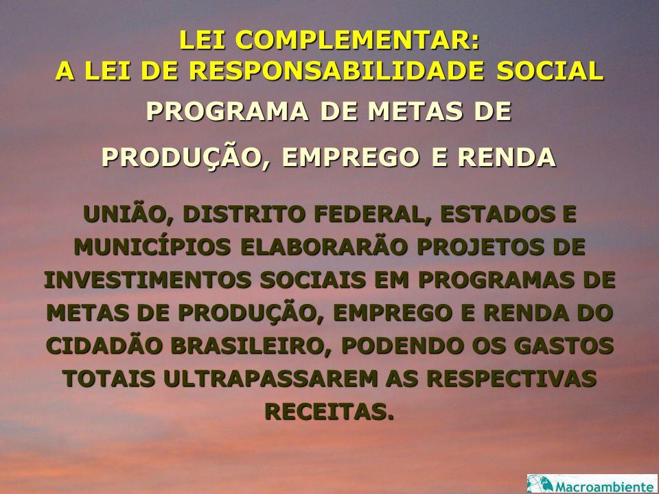 LEI COMPLEMENTAR: A LEI DE RESPONSABILIDADE SOCIAL