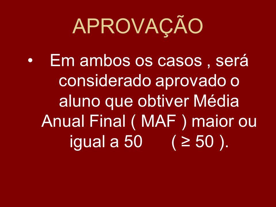 APROVAÇÃO Em ambos os casos , será considerado aprovado o aluno que obtiver Média Anual Final ( MAF ) maior ou igual a 50 ( ≥ 50 ).