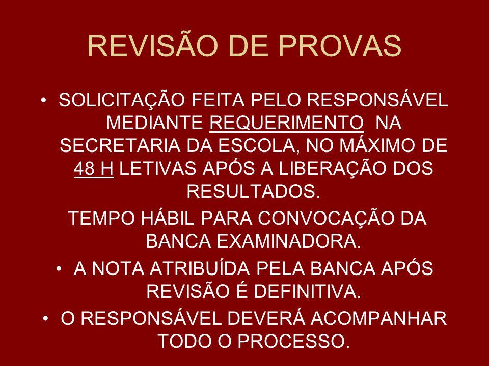REVISÃO DE PROVAS
