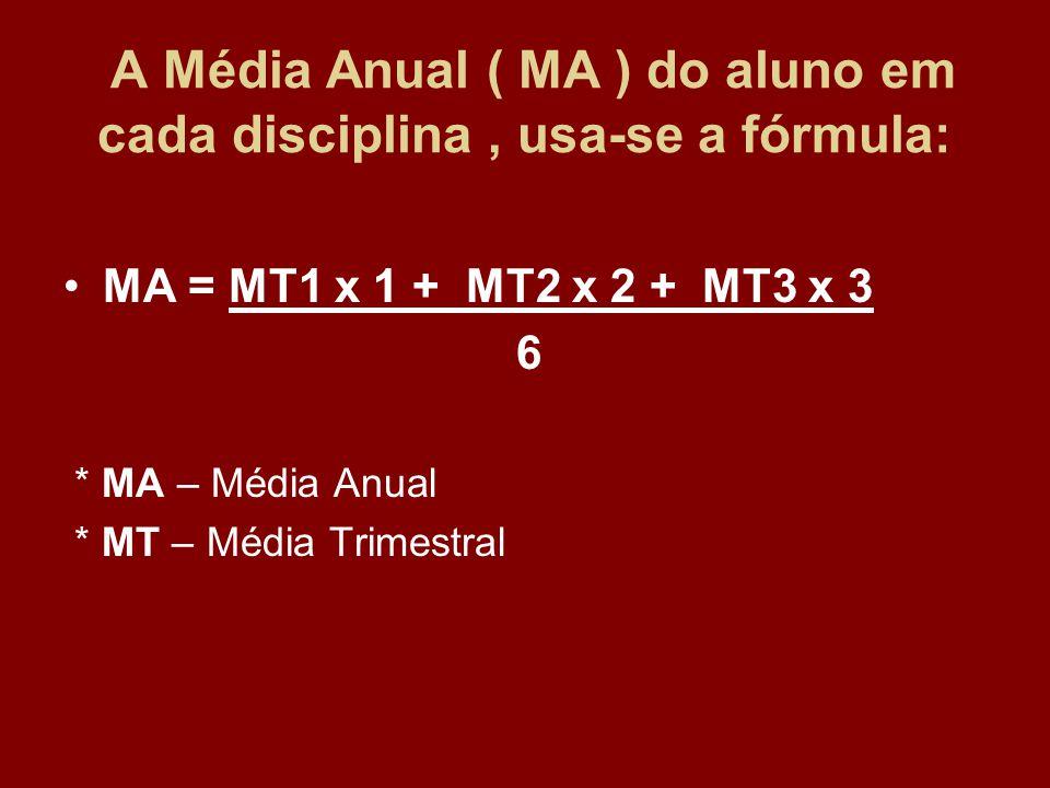 A Média Anual ( MA ) do aluno em cada disciplina , usa-se a fórmula: