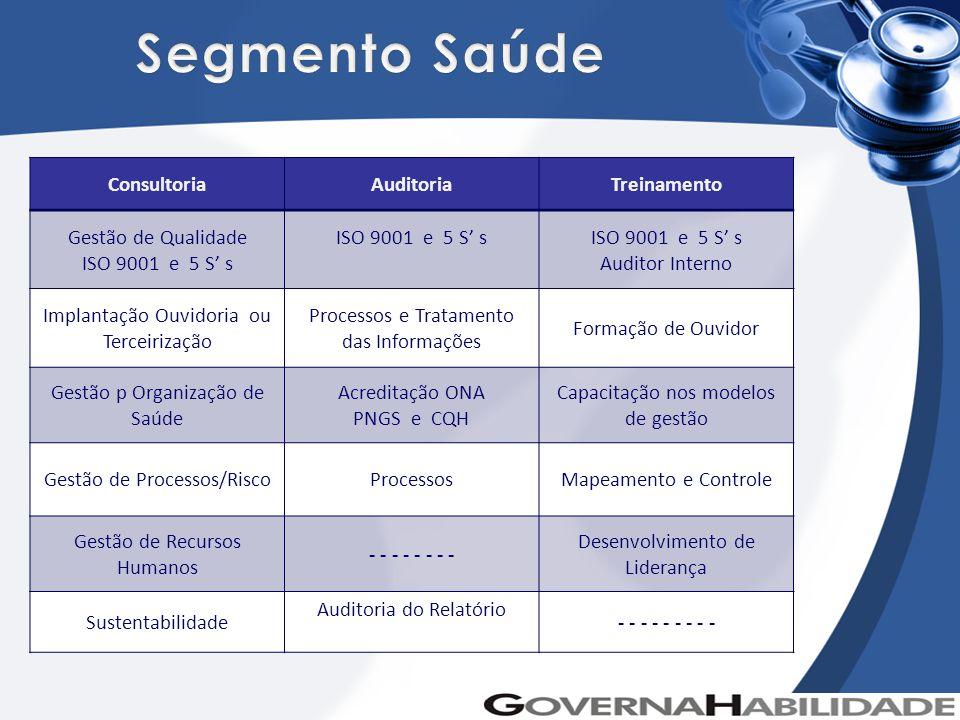 Segmento Saúde Consultoria Auditoria Treinamento Gestão de Qualidade