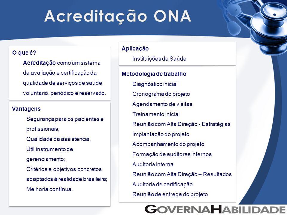 Acreditação ONA Aplicação Instituições de Saúde O que é