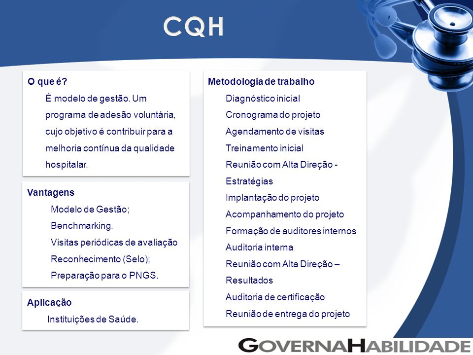 CQH O que é É modelo de gestão. Um programa de adesão voluntária, cujo objetivo é contribuir para a melhoria contínua da qualidade hospitalar.