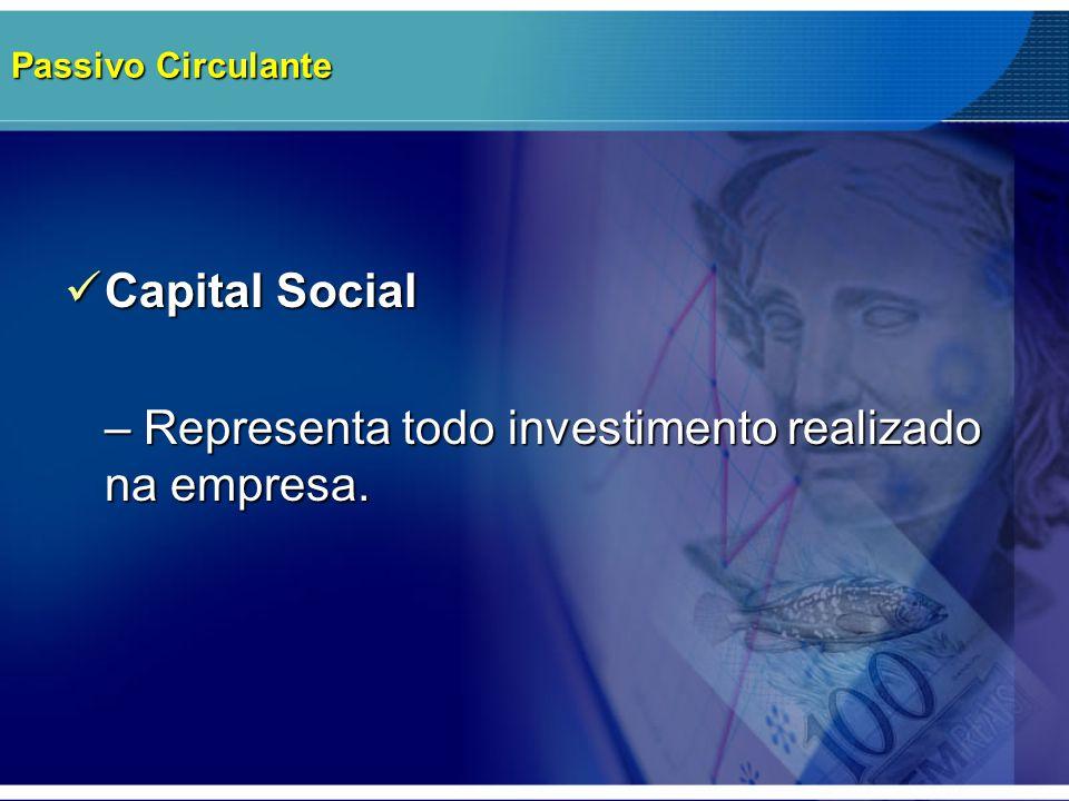 – Representa todo investimento realizado na empresa.