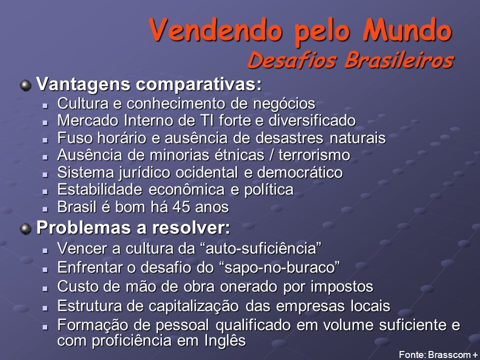 Vendendo pelo Mundo Desafios Brasileiros
