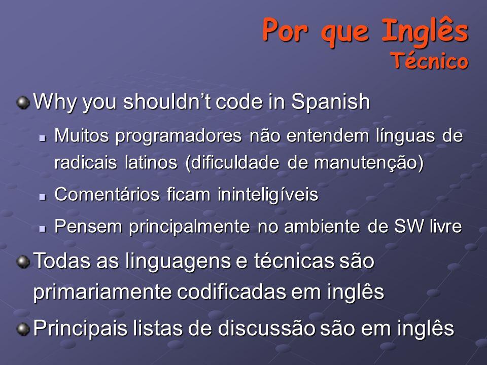 Por que Inglês Técnico Why you shouldn't code in Spanish