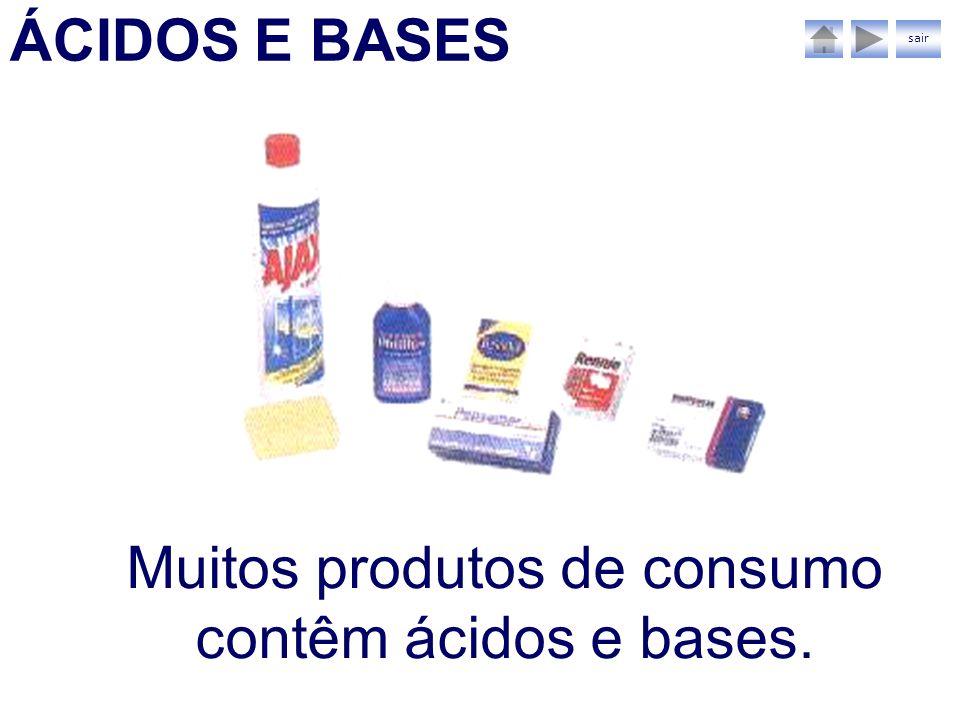 Muitos produtos de consumo contêm ácidos e bases.