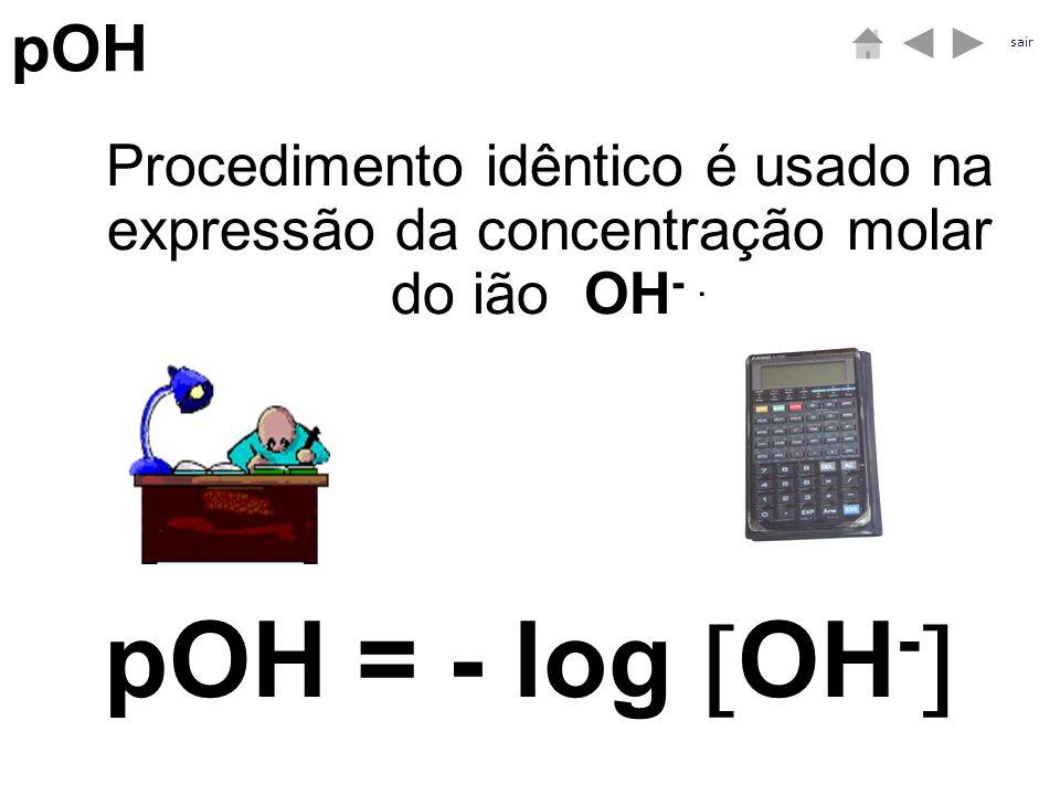 pOH sair. Procedimento idêntico é usado na expressão da concentração molar do ião OH- .