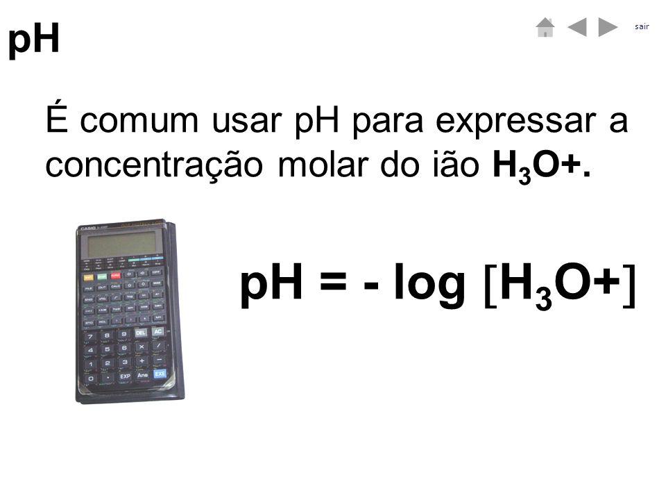 pH sair É comum usar pH para expressar a concentração molar do ião H3O+. pH = - log H3O+