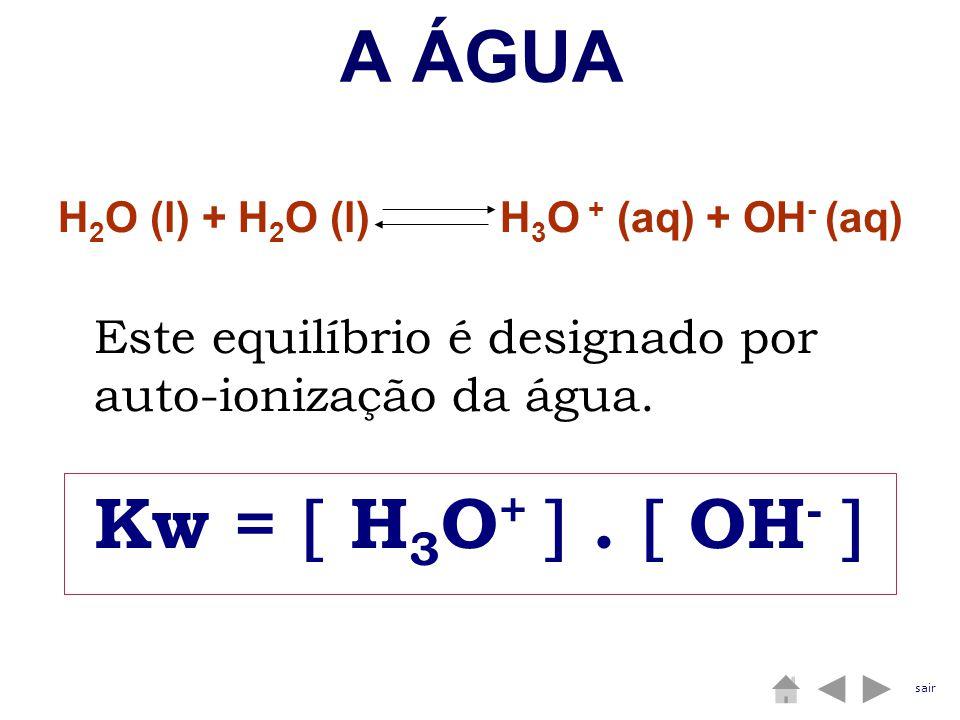 A ÁGUA Kw =  H3O+  .  OH-  H2O (l) + H2O (l) H3O + (aq) + OH- (aq)