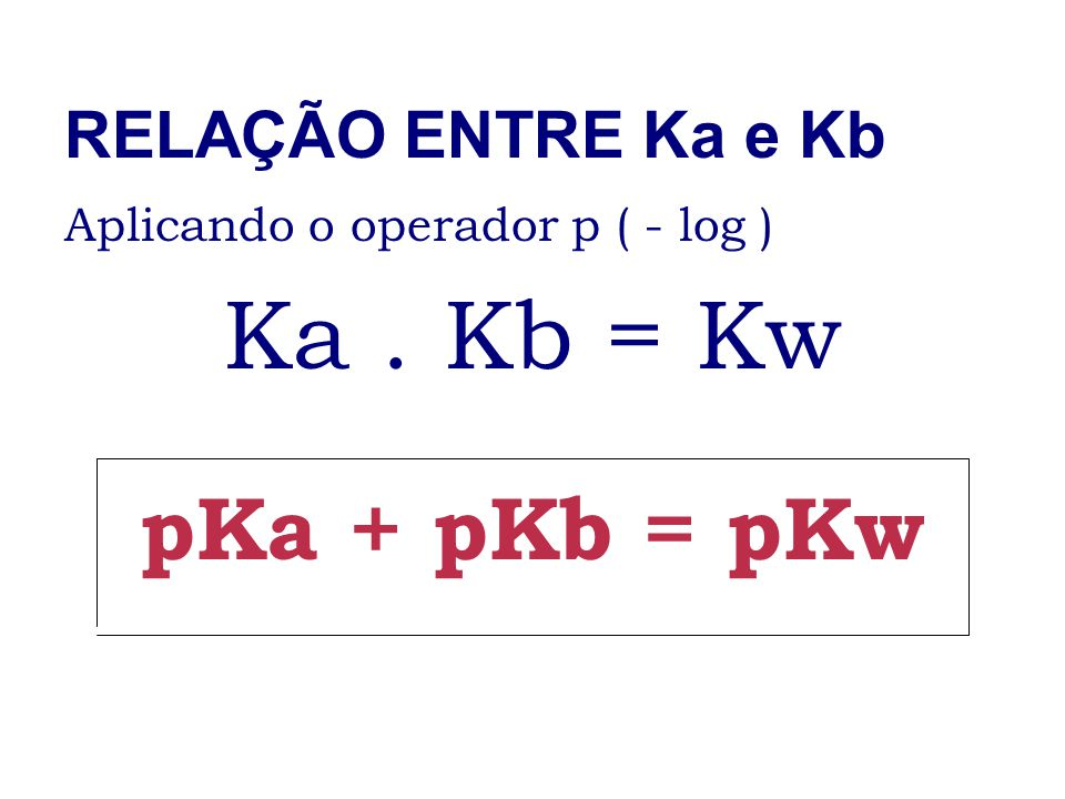 Ka . Kb = Kw pKa + pKb = pKw RELAÇÃO ENTRE Ka e Kb