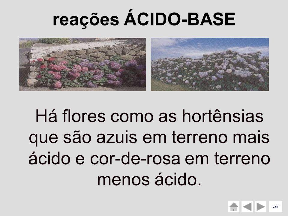 reações ÁCIDO-BASE Há flores como as hortênsias que são azuis em terreno mais ácido e cor-de-rosa em terreno menos ácido.