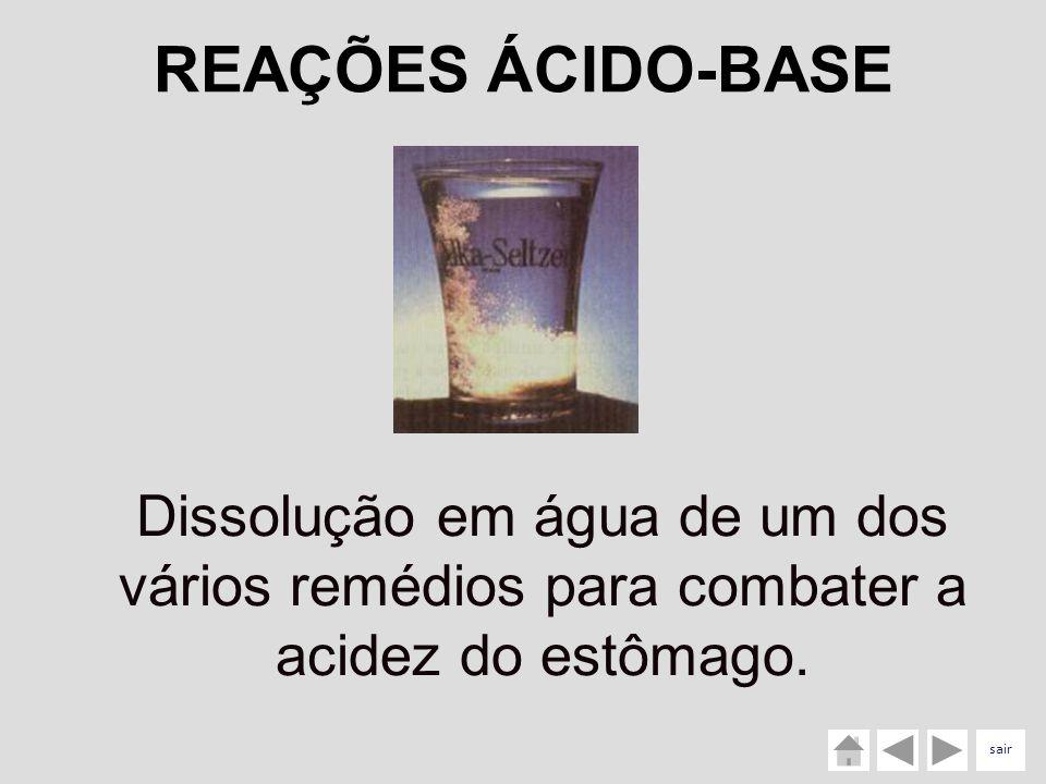 REAÇÕES ÁCIDO-BASE Dissolução em água de um dos vários remédios para combater a acidez do estômago.