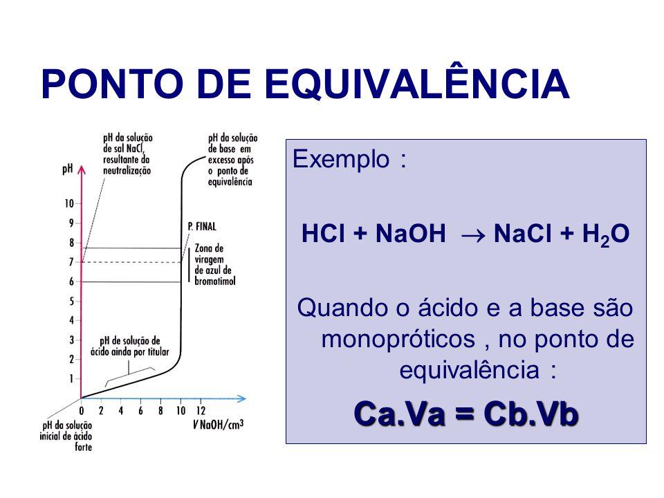 Quando o ácido e a base são monopróticos , no ponto de equivalência :