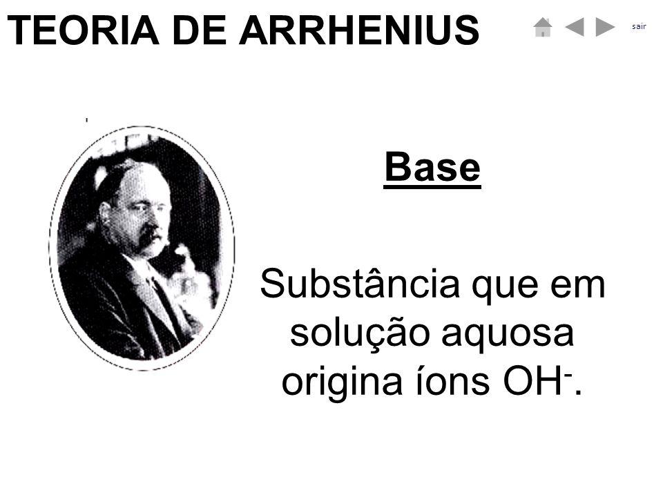 Substância que em solução aquosa origina íons OH-.