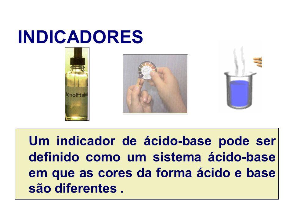INDICADORES Um indicador de ácido-base pode ser definido como um sistema ácido-base em que as cores da forma ácido e base são diferentes .
