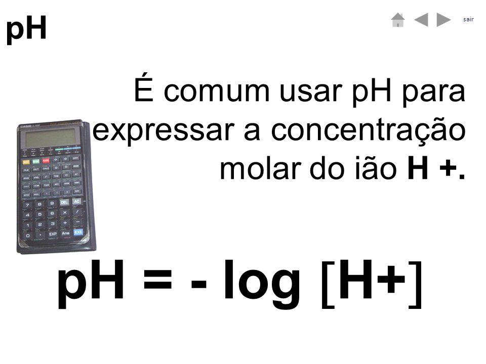 pH sair É comum usar pH para expressar a concentração molar do ião H +. pH = - log H+