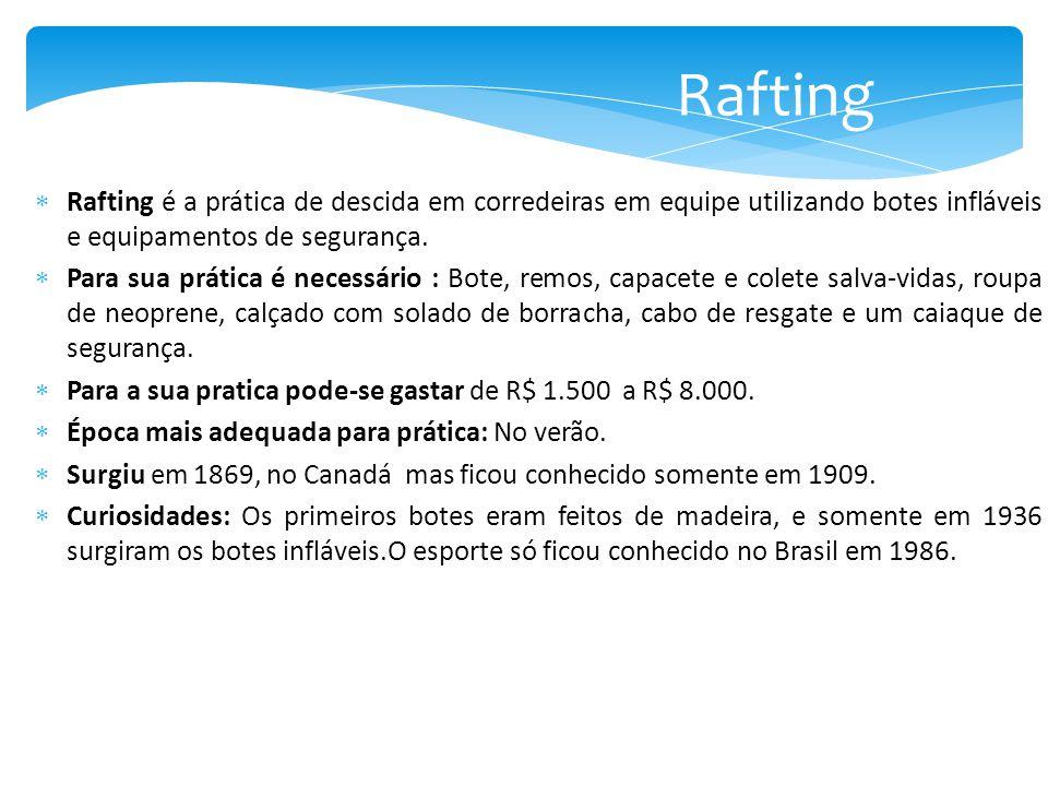 Rafting Rafting é a prática de descida em corredeiras em equipe utilizando botes infláveis e equipamentos de segurança.