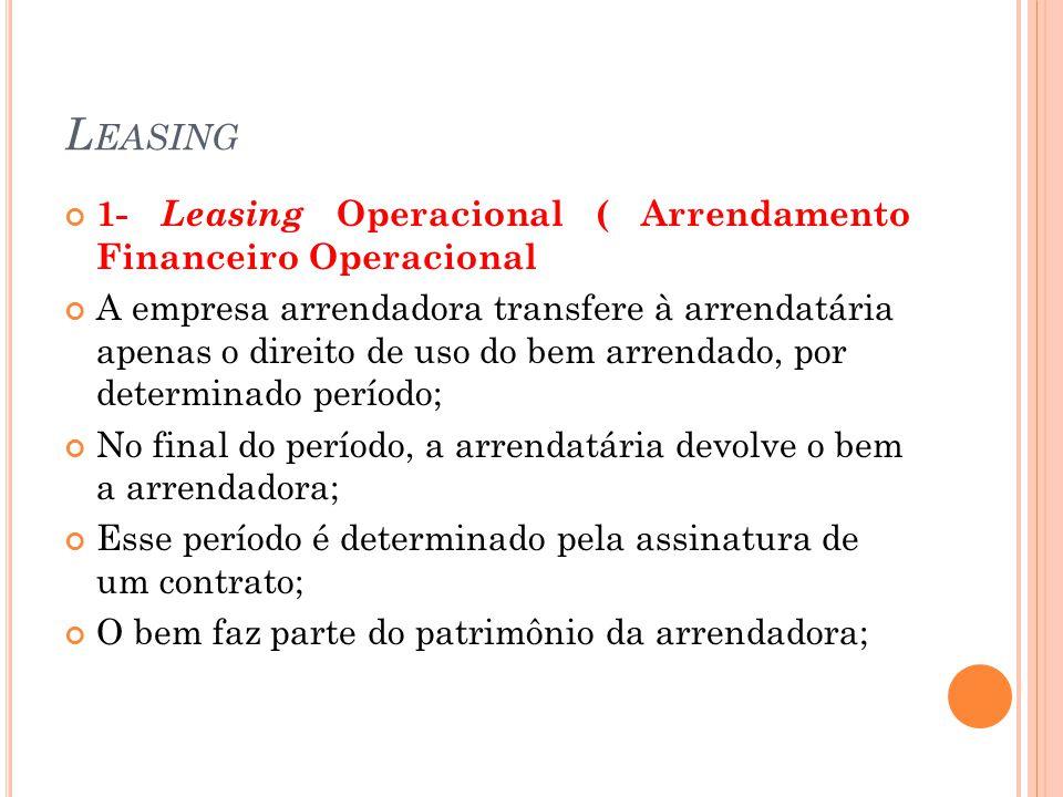 Leasing 1- Leasing Operacional ( Arrendamento Financeiro Operacional