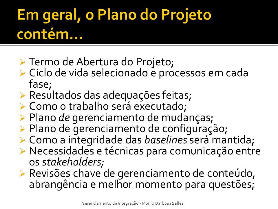 Em geral, o Plano do Projeto contém...