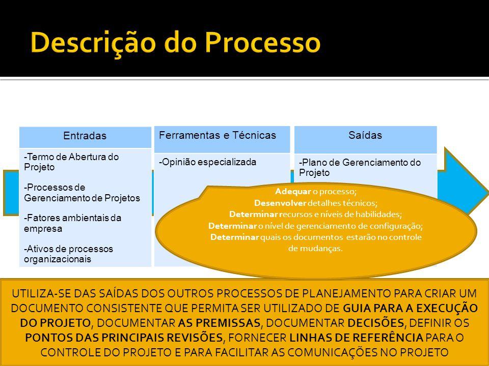 Descrição do Processo Entradas. -Termo de Abertura do Projeto. -Processos de Gerenciamento de Projetos.