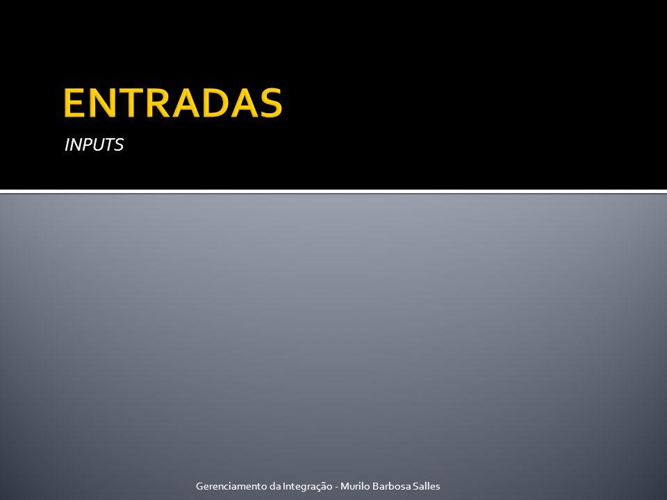 ENTRADAS INPUTS Gerenciamento da Integração - Murilo Barbosa Salles
