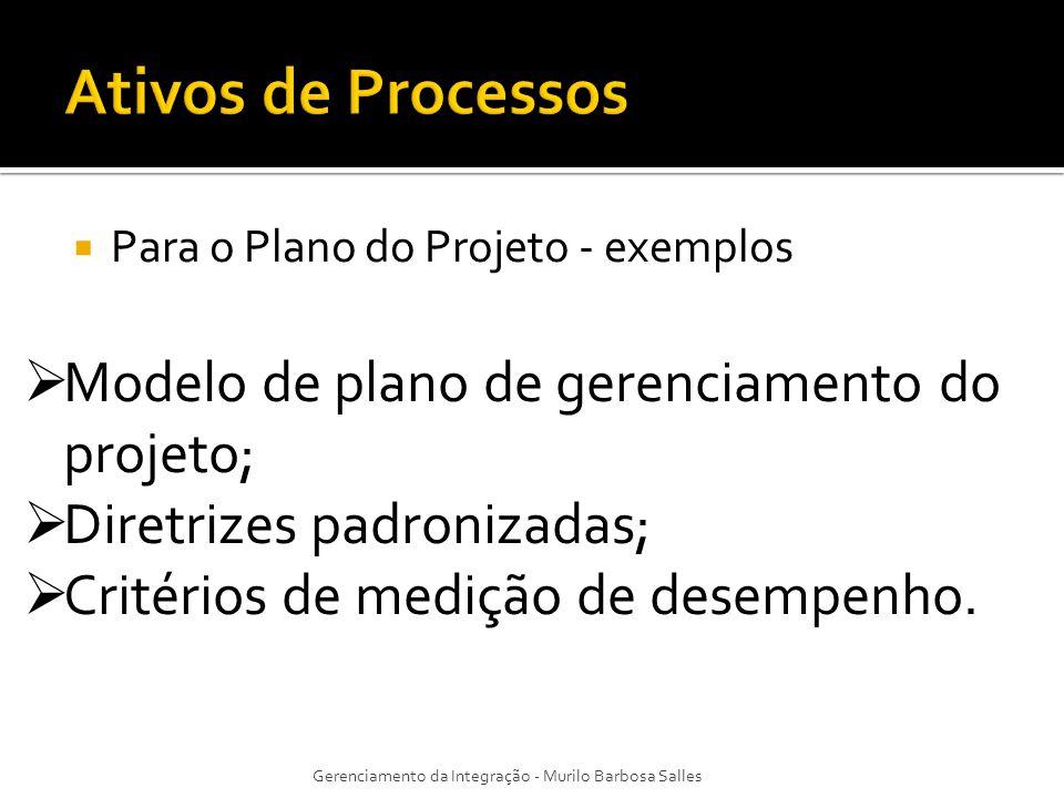 Ativos de Processos Modelo de plano de gerenciamento do projeto;