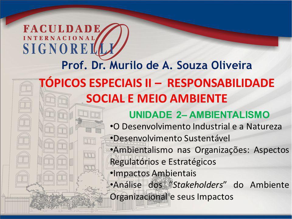 TÓPICOS ESPECIAIS II – RESPONSABILIDADE SOCIAL E MEIO AMBIENTE