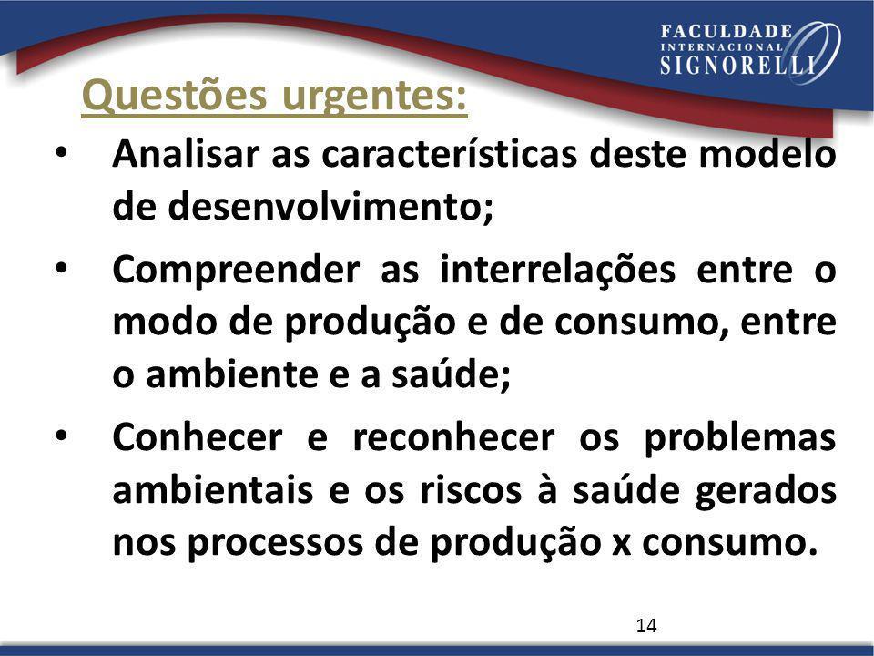 Questões urgentes: Analisar as características deste modelo de desenvolvimento;