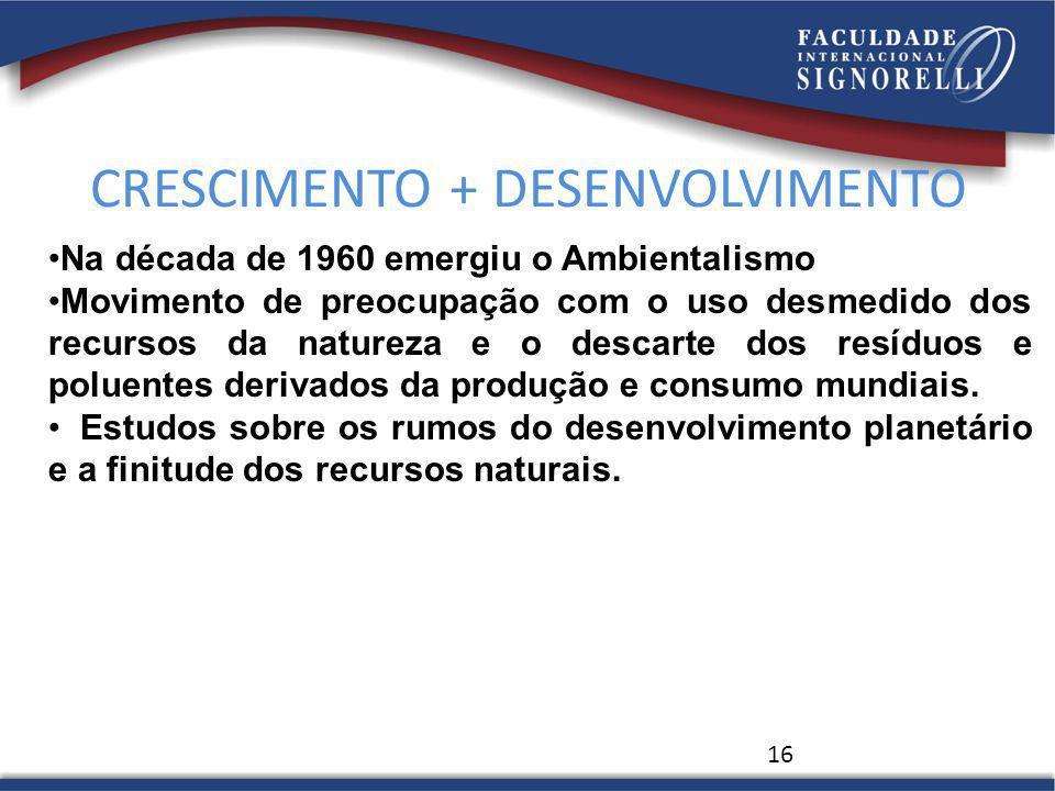 CRESCIMENTO + DESENVOLVIMENTO