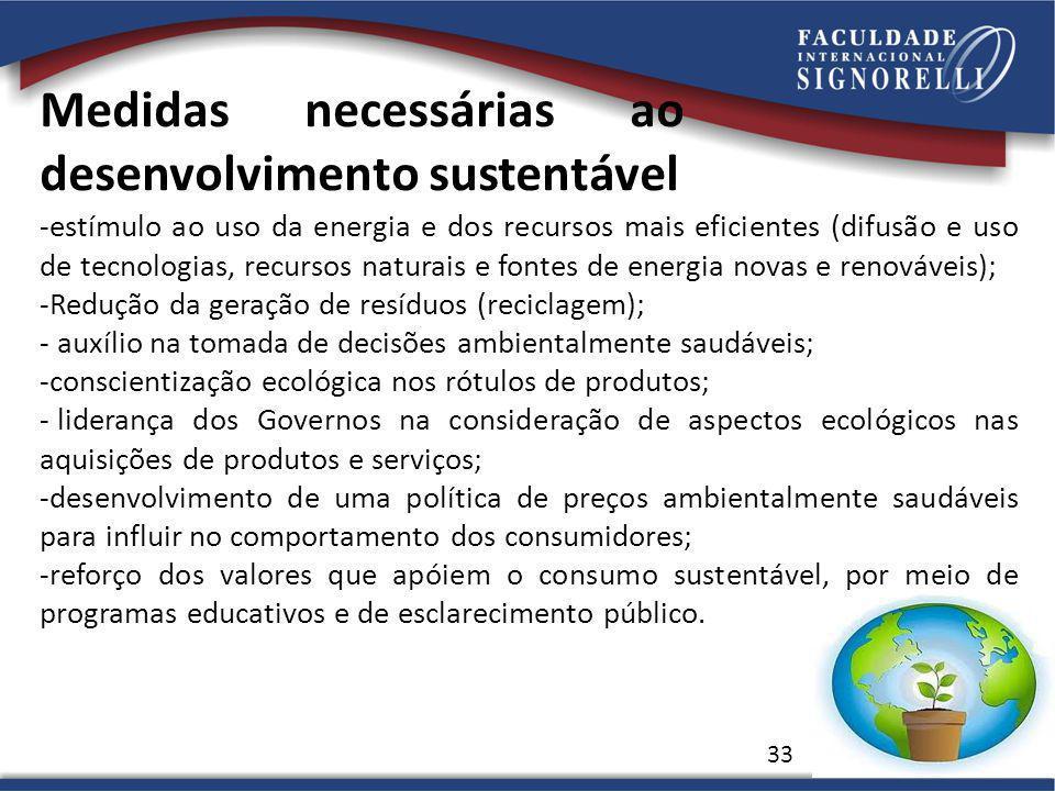 Medidas necessárias ao desenvolvimento sustentável