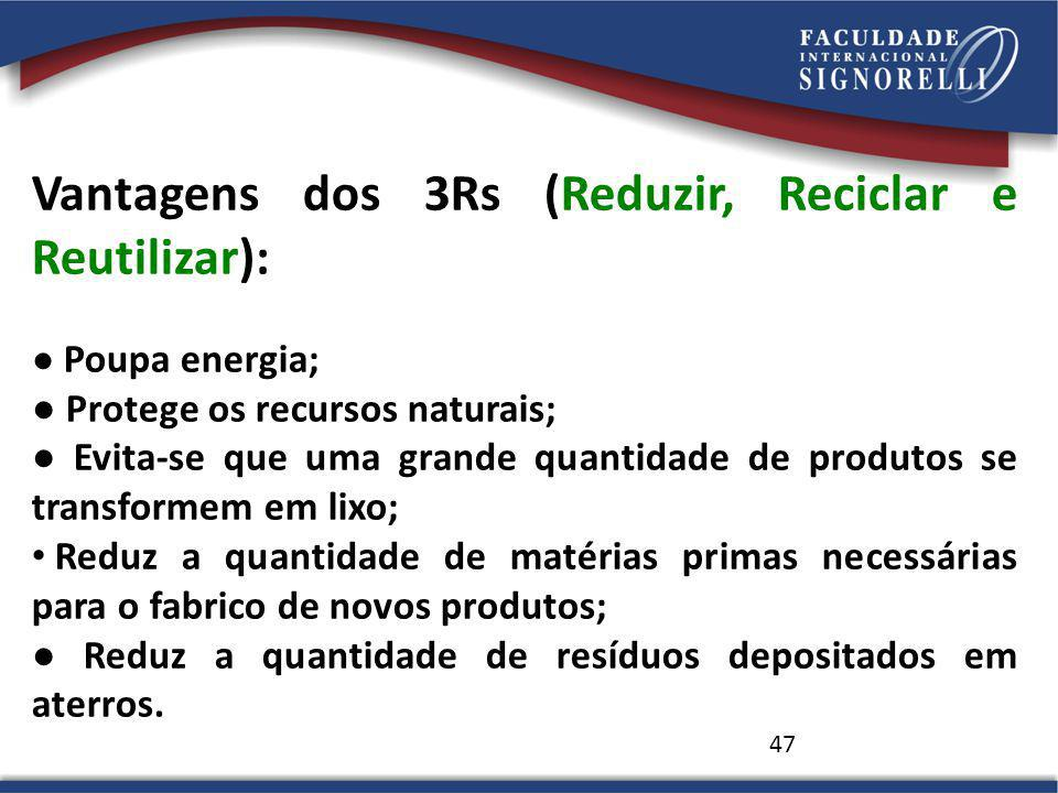 Vantagens dos 3Rs (Reduzir, Reciclar e Reutilizar):