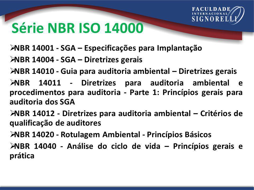 Série NBR ISO 14000 NBR 14001 - SGA – Especificações para Implantação