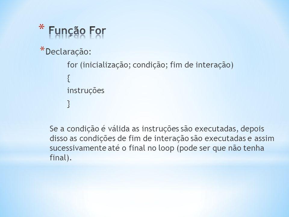 Função For Declaração: for (inicialização; condição; fim de interação)
