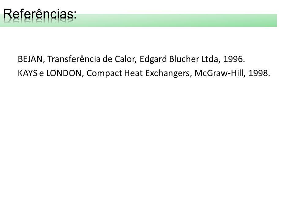 Referências: BEJAN, Transferência de Calor, Edgard Blucher Ltda, 1996.