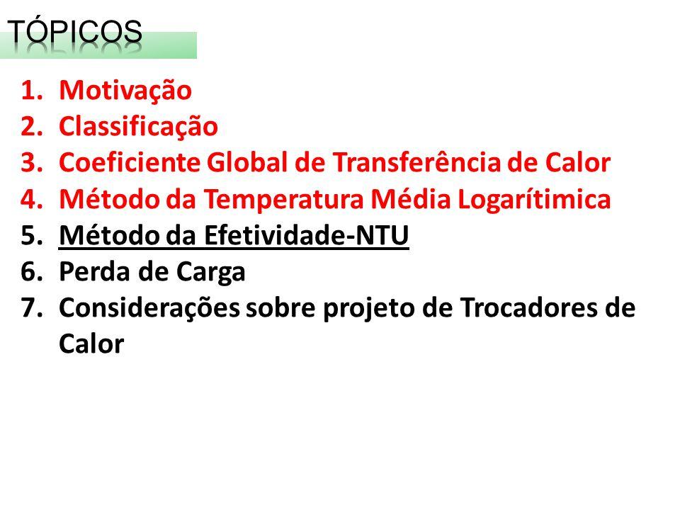 TÓPICOS Motivação. Classificação. Coeficiente Global de Transferência de Calor. Método da Temperatura Média Logarítimica.