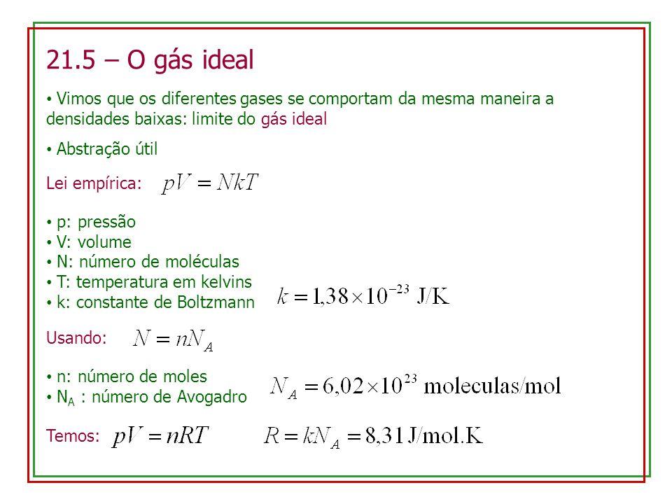 21.5 – O gás ideal Vimos que os diferentes gases se comportam da mesma maneira a densidades baixas: limite do gás ideal.