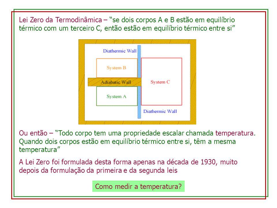Lei Zero da Termodinâmica – se dois corpos A e B estão em equilíbrio térmico com um terceiro C, então estão em equilíbrio térmico entre si