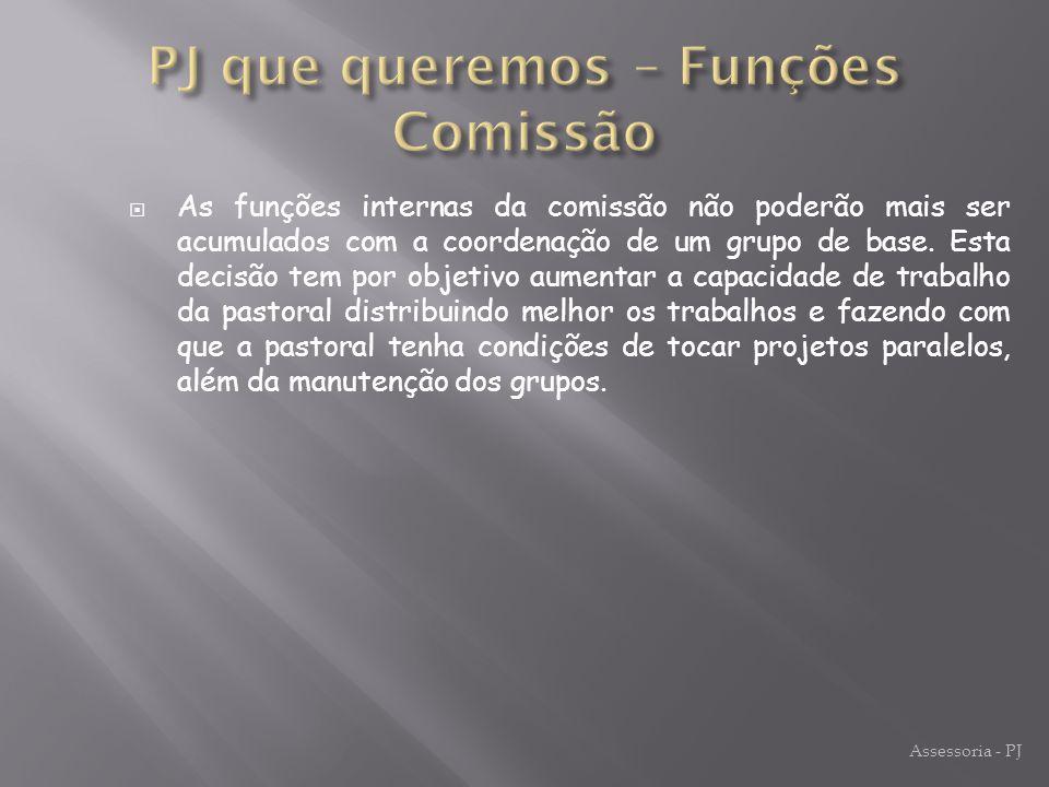 PJ que queremos – Funções Comissão