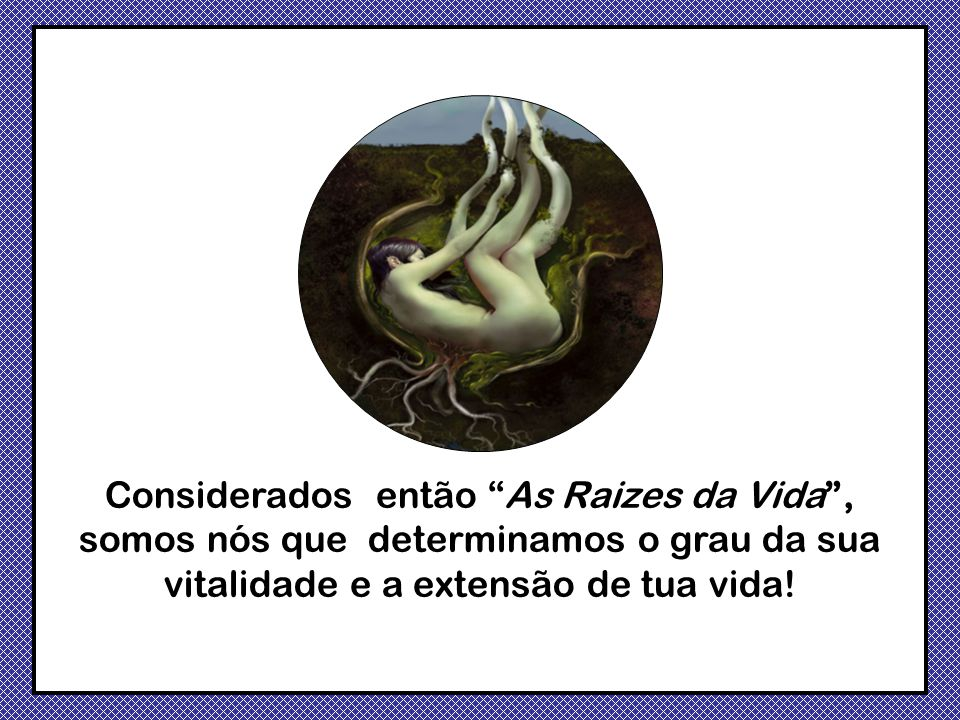 Considerados então As Raizes da Vida , somos nós que determinamos o grau da sua vitalidade e a extensão de tua vida!