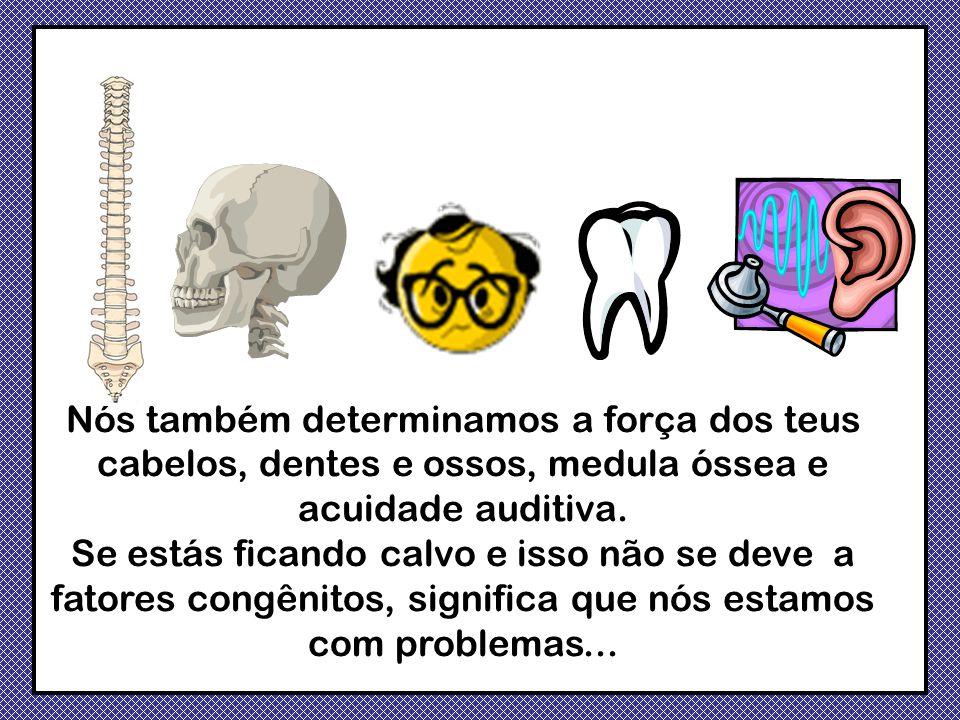 Nós também determinamos a força dos teus cabelos, dentes e ossos, medula óssea e acuidade auditiva.