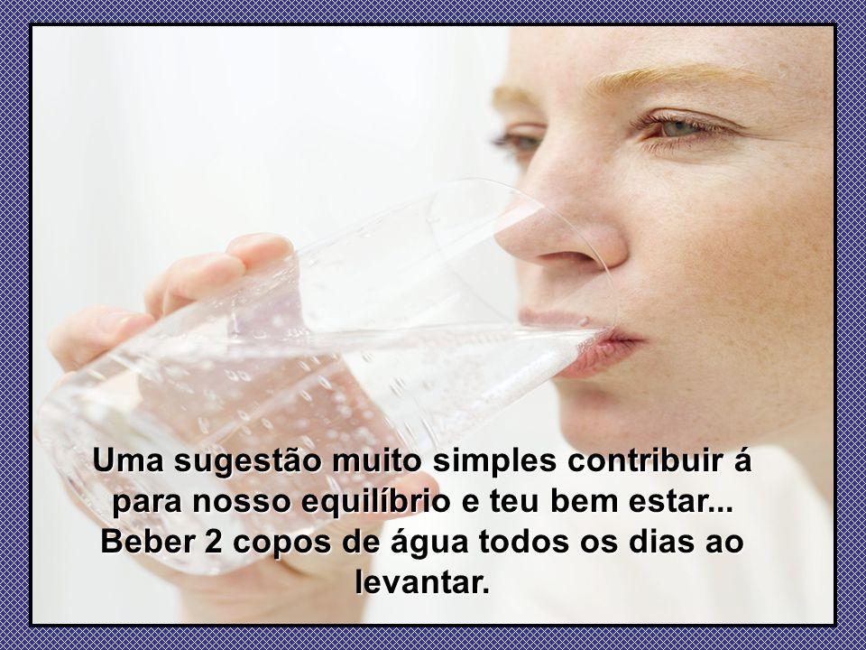 Beber 2 copos de água todos os dias ao levantar.