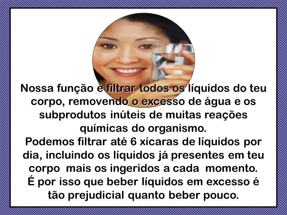 Nossa função é filtrar todos os líquidos do teu corpo, removendo o excesso de água e os subprodutos inúteis de muitas reações químicas do organismo.