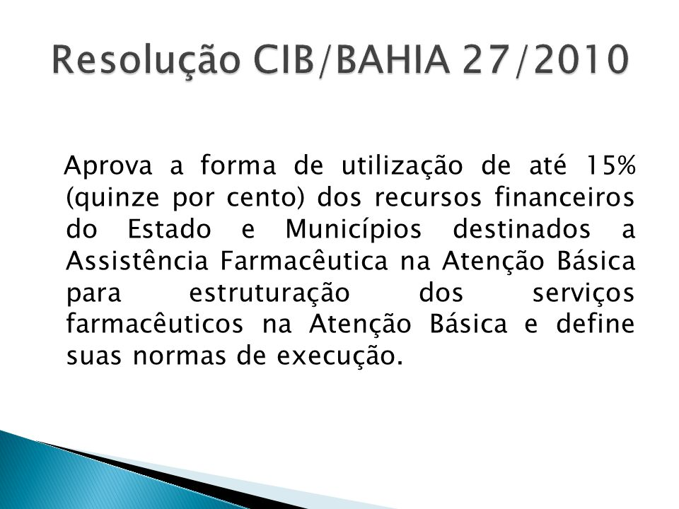 Resolução CIB/BAHIA 27/2010