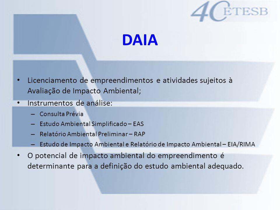 DAIA Licenciamento de empreendimentos e atividades sujeitos à Avaliação de Impacto Ambiental; Instrumentos de análise: