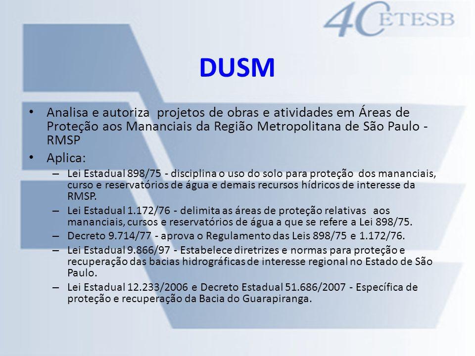 DUSM Analisa e autoriza projetos de obras e atividades em Áreas de Proteção aos Mananciais da Região Metropolitana de São Paulo - RMSP.