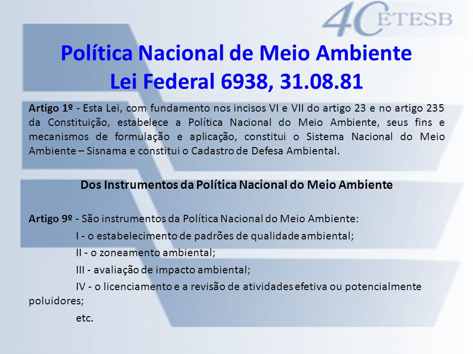 Política Nacional de Meio Ambiente Lei Federal 6938, 31.08.81
