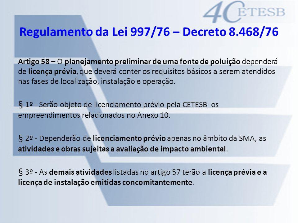 Regulamento da Lei 997/76 – Decreto 8.468/76