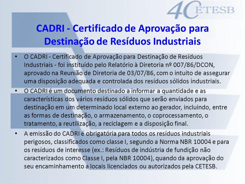 CADRI - Certificado de Aprovação para Destinação de Resíduos Industriais